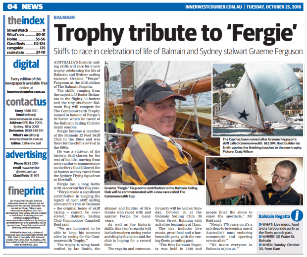 7bdd20738f7e The Bailmain Sailing Club regatta is around the corner (Oct 30) and to  celebrate the life of Balmain and Sydney's stalwart Graeme